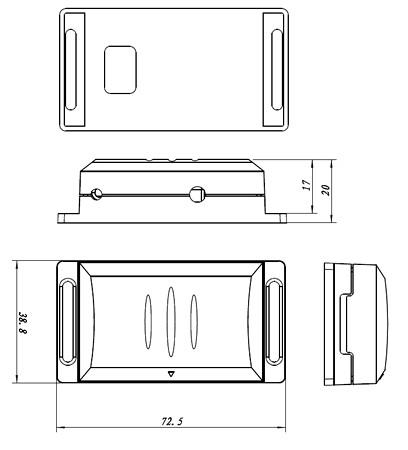 DFM-1000 Gehäuse-Maße  -(c) www.Funkinstallation.de