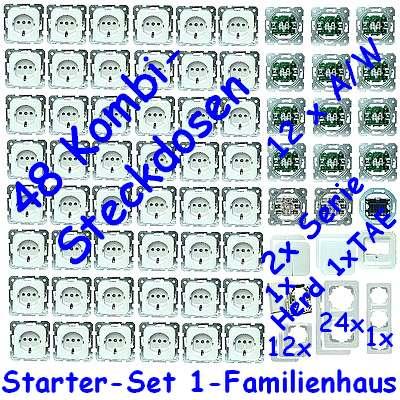 116 teiliges steckdosen schalter set 1 fam haus egb wei neu ebay. Black Bedroom Furniture Sets. Home Design Ideas
