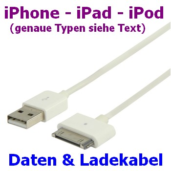 iPhone 3 4 Daten- und Ladekabel 1 Meter USB A an iPod 30p Malei Pad 2-3 iPod