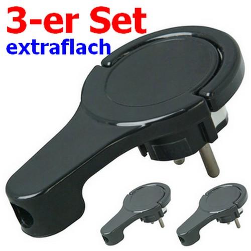 3 Stück (!!) Winkelstecker extra flach schwarz Flachstecker Kopp 1720.0503.0 4008224588829