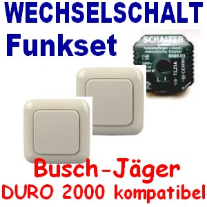 funk set wechselschaltung mit 2x wandschalter standard creme wei free control ebay. Black Bedroom Furniture Sets. Home Design Ideas