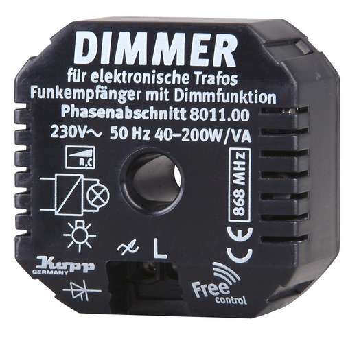 Funk-Einbau-Dimmer Phasen-ABschnitt 40 - 200 W/VA auch f�r elektronische Trafos Kopp Free-control�