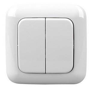 Funk-Lichtschalter (=Sender) alpin-weiß ohne Kabel mit 2-4 Schaltmöglichkeiten