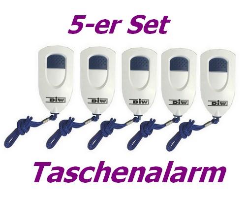 5-er SET Panik Alarm mit Sirene 130dB DAL-PS10-Set5 Personen- Taschenalarm mobil