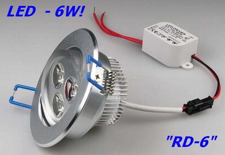 RD-6 - elegante LED-Einbauleuchte 9-20397 mit 3x2W Hightech-LEDs im Alu-Geh�use