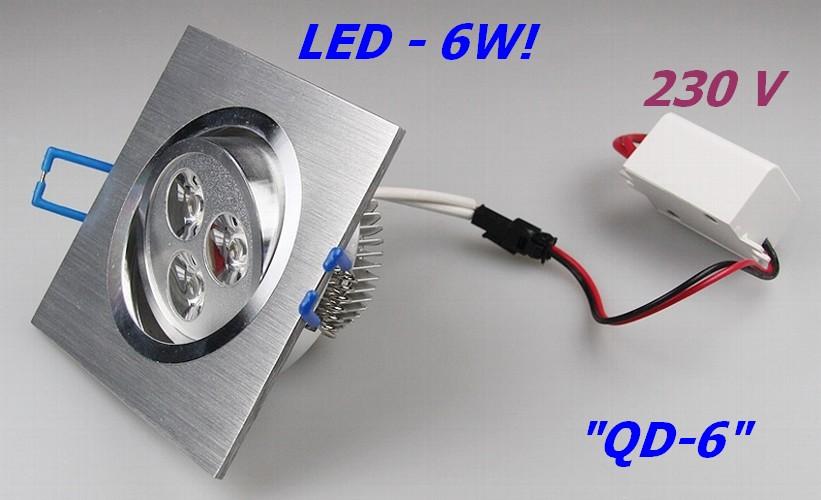 QD-6 - 6W LED Einbauleuchte 230V Einbaustrahler ALU quadratisch 9-20400 warmweiß