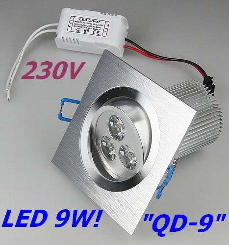 QD-9 - 9W LED Einbauleuchte 230V Einbaustrahler ALU quadratisch 9-20401 warmwei�