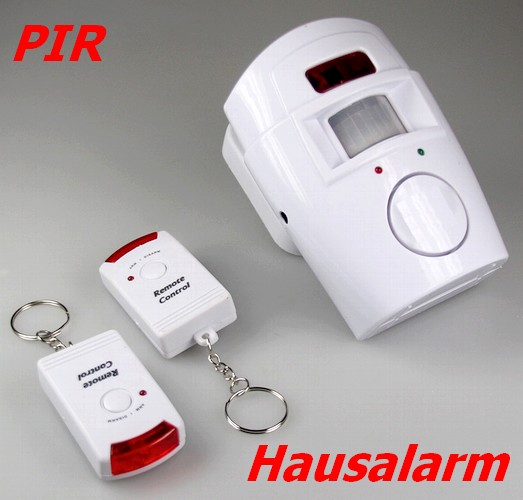 Hausalarm mit PIR-Bewegungsmelder 9-20561 Sirene 105dB inkl. 2x IR-Fernbedienung