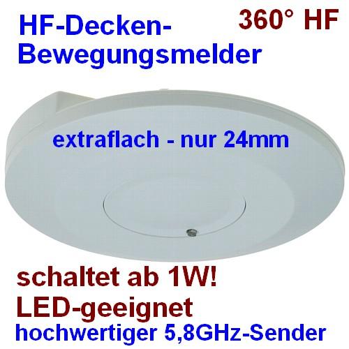 Decken-Bewegungsmelder extraflach 360° HF-Technik LED-geeignet 21832