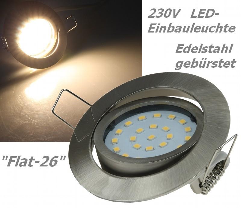 Flat-26 schicke LED-Einbauleuchte 9-21841 Edelstahl gebürstet, Lichtfarbe warmweiß