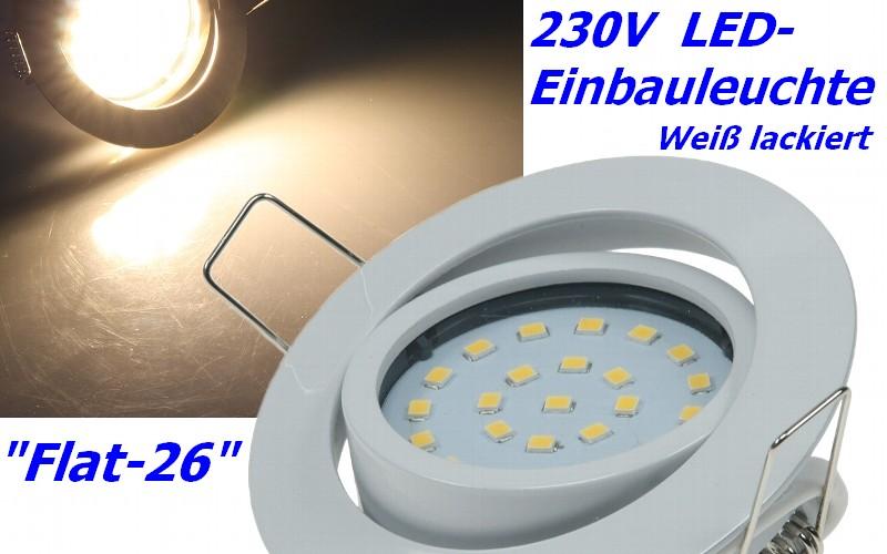 Flat-26 schicke LED-Einbauleuchte 9-21843 wei� lackiert, Lichtfarbe warmwei�
