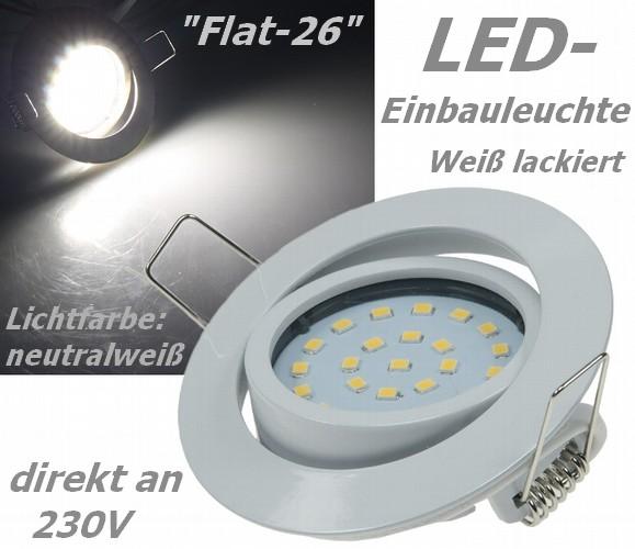 Flat-26 schicke LED-Einbauleuchte 9-21844 wei� lackiert, Lichtfarbe neutralwei�, 4W