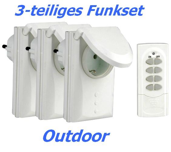 3-tlg Funkschalter Set Outdoor DGR-3600 IP44 3x Funkzwischenstecker für Garten