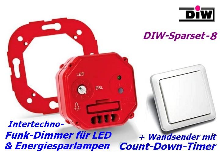 DIW Sparset-8 - Intertechno-Funkdimmer mit Funk-Wandsender AWST-8800