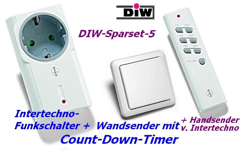 DIW Sparset-4 - Intertechno-Funksteckdose mit Funk-Wandsender AWST-8800