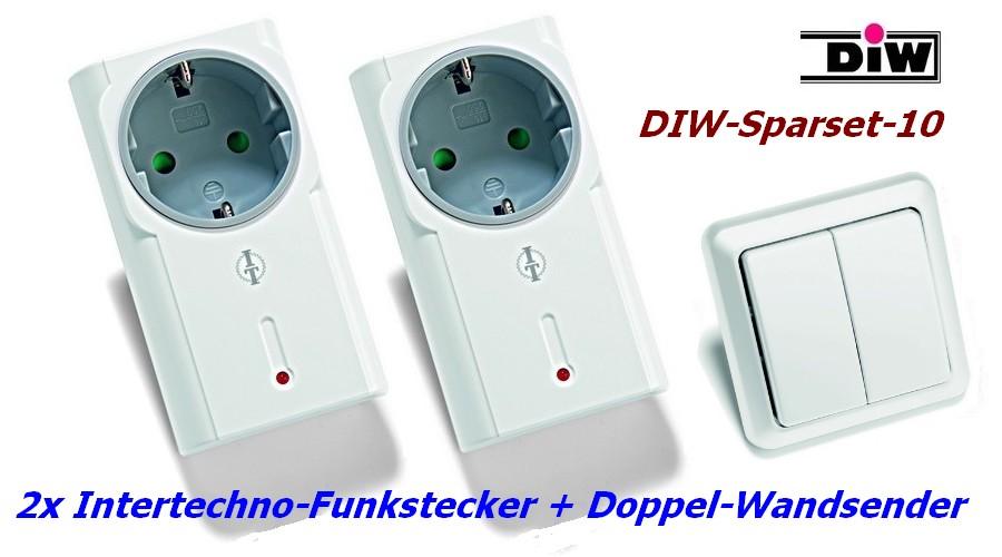 DIW Sparset-10 - 2xIntertechno-Funksteckdose mit Doppel-Funk-Wandsender AWST-8802