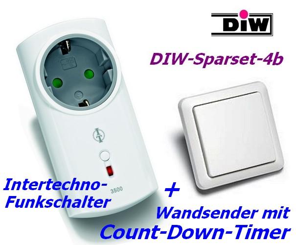 SPARSET-4b: FUNK-Wandsender mit Count-Down-Timer + Intertechno 3500W Funkstecker