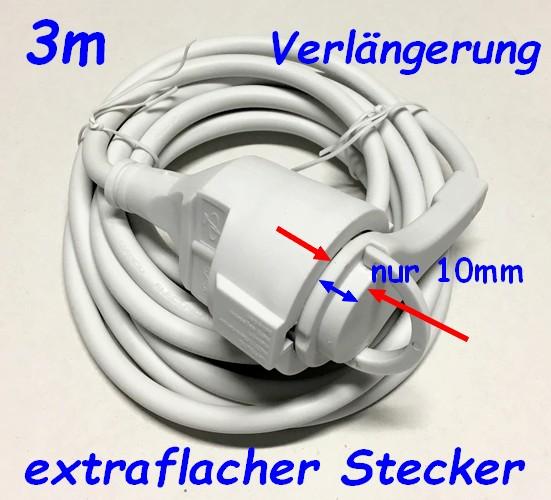 Schuko-Verlängerung mit extraflachem Winkelstecker