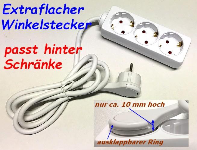 3-fach Steckdosenleiste Extra flacher Winkelstecker passt hinter Möbel! 045400