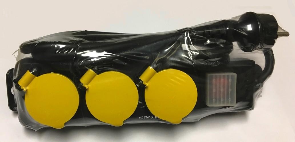 3 fach steckdosenleiste ip44 1 5m mit wippschalter und gelben klappdeckel 047770 ebay. Black Bedroom Furniture Sets. Home Design Ideas