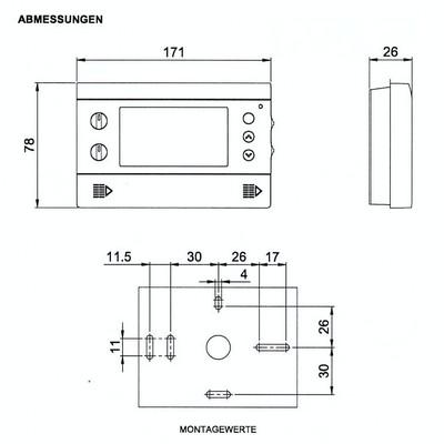 Maße Uhrenthermostat TermoMat von Suevia