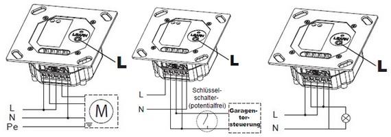 Anschlussmöglichkeiten Funk-Jalousie-Schalter