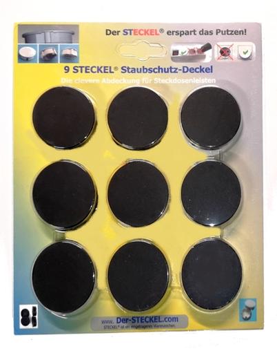9-er Sparset Original-STECKEL schwarz - Steckdosen Abdeckung Staubschutz erspart Putzen