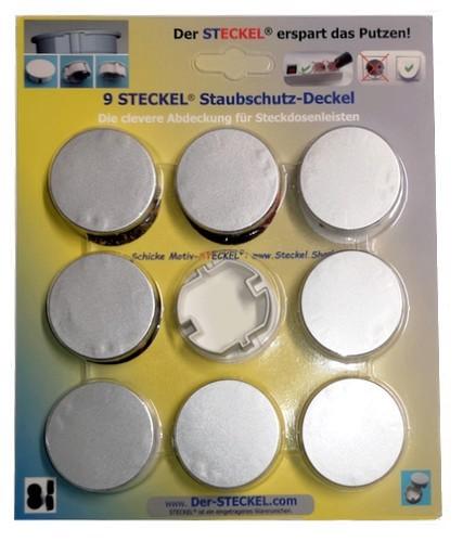 9-er Sparset Original-STECKEL Farbe SILBER - Steckdosen Abdeckung Staubschutz erspart Putzen