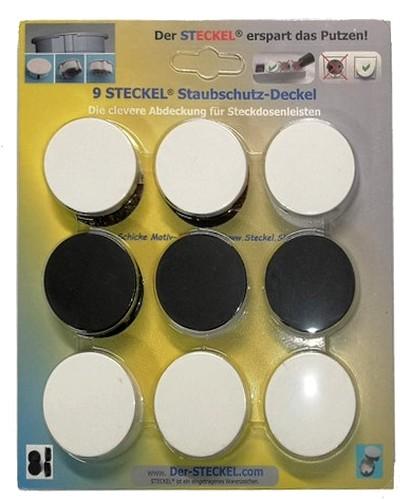 6+3-er Sparset (6x weiß + 3x schwarz) Original-STECKEL - Steckdosen Abdeckung