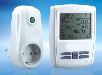 Drahtloses Energiekostenmessgerät mit LCD-Anzeige und zwei Übermittlern