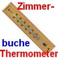 Zimmerthermometer Holz mit vergoldeter Skala