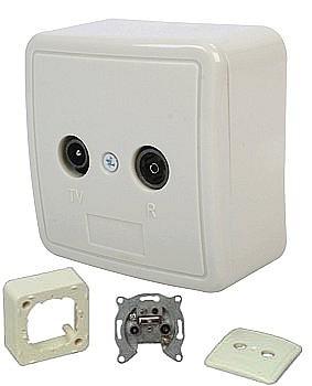 Antennendose 2-Loch TV/Radio Einzeldose Enddose Wallbox2 Auf- und Unterputz verwendbar