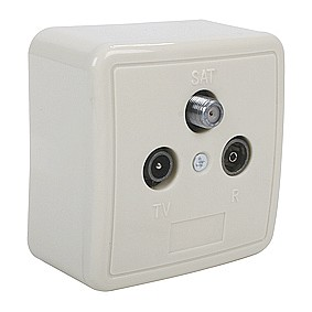 Antennensteckdose mit SAT-Anschluss 3-fach Wallbox3 Aufputz und Unterputz verwendbar Enddose