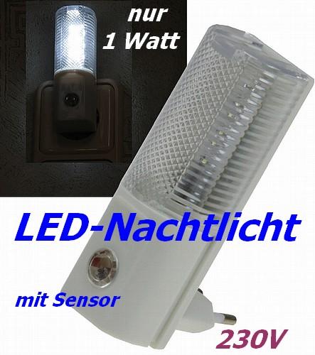 LED Nachtlicht 1W für die Steckdose mit Tag-Nacht-Sensor 1x9-20784 Notlicht