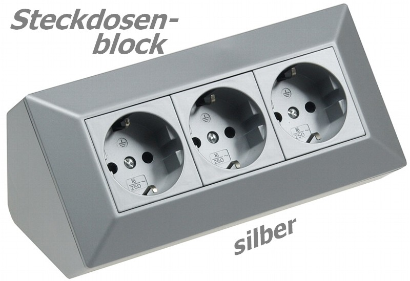 Formschöner 3er Steckdosenblock silber 21666 Aufbaumontage für Küche Werkstatt 16A