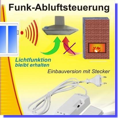DAS-2090-S Funk-Abluftsteuerung mit Stecker EINBAU mit Lichtfunktion
