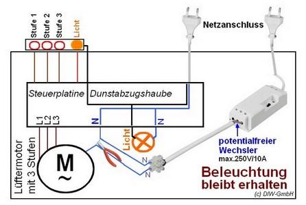 DRE-20900 Funk Fensterkontaktschalter Anschluss Lichtfunktion bleibt erhalten