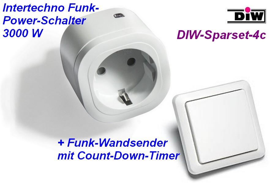 DIW Sparset-4c - Intertechno-Funksteckdose IT-3000 mit Funk-Wandsender DIWST-8800