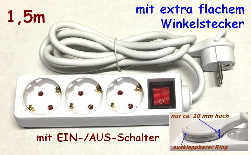3-fach Steckerleiste 1,5m mit EIN-AUS-Schalter und flachem Winkelstecker 045480
