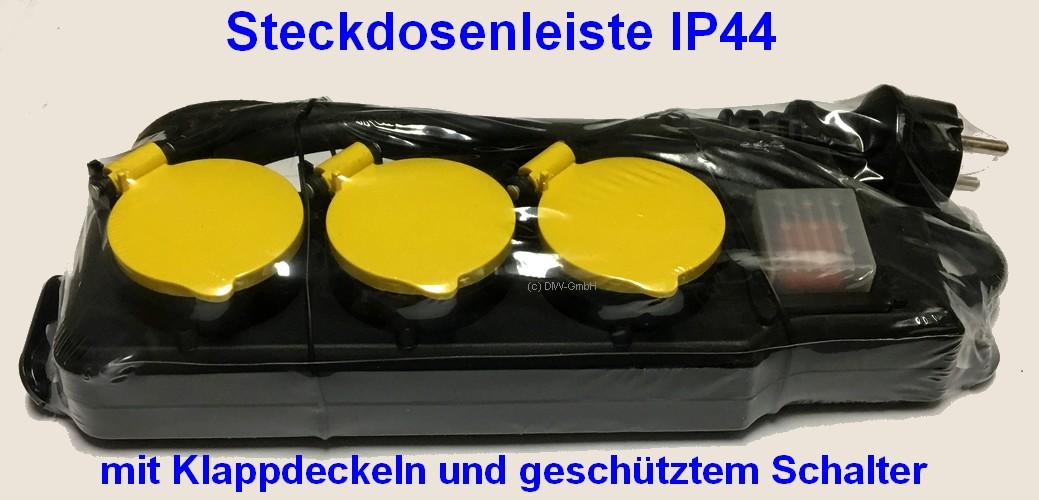 3-fach Steckdosenleiste IP44 1,5m mit Wippschalter und gelben Klappdeckel 047770