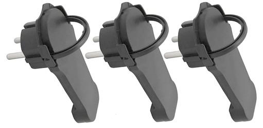 3 Stück (!!) Winkelstecker extra flach schwarz Flachstecker ETT