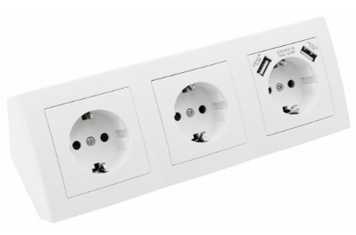 Formschöner 3er Steckdosenblock mit 2x USB weiß ET-777 Aufbaumontage für Küche Büro Werkstatt