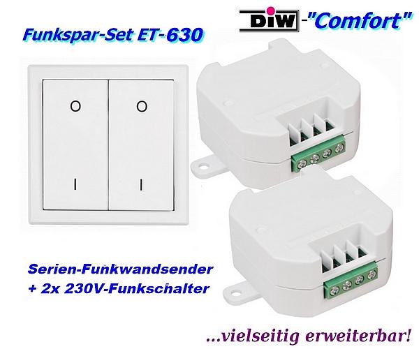 DIW Comfort Sparset-ET-63 - 2x-Funkschalter ETE-230 mit Doppel-Funk-Wandsender