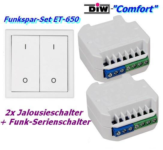 ET-650 Funk-Set: 2xFunk-Jalousie-Schalter + Serien-Wandsender DIW-Comfort