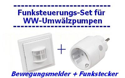 Lieferumfang Funksteuerung für Umwälzpumpen mit 1 Bewegungsmelder