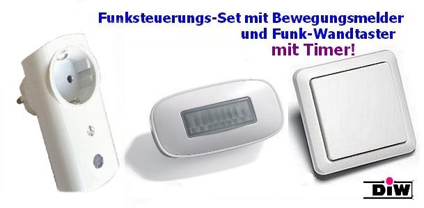 Funk-Steuerungs-Set mit Bewegungsmelder und Taster für Umwälzpumpen Serie Intertechno