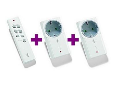 Funk-Set: 2x Funk-Zwischenstecker ITR-1500 1500W + Handsender ITT-1500 Intertechno