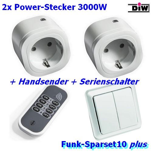 SPARSET-10F: Funk-Wandschalter + 2x (!) IT-3000 Intertechno Funkstecker + Handsenderr + 2x (!) IT-3000 Intertechno Funkstecker