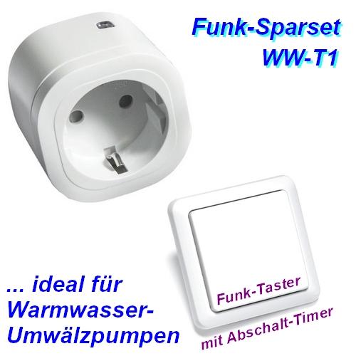 WW-T1 Funksteuerung für Warmwasser Umwälzpumpe mit Intertechno Funk-Zwischenstecker + Taster mit Timer
