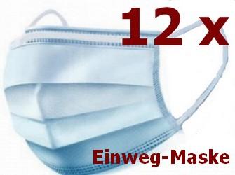 12 Stück Einweg-Gesichtsmaske 3-lagig Mundschutz Staubschutz Infektionsschutz Schutzmaske Atemschutzmaske mit Ohrschlaufen